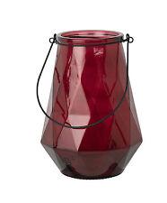 1x Windlicht Glas mit Henkel H24 Diamont M weinrot rot raute Broste Copenhagen
