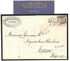 MS880 1878 GB DESTINATION MAIL Glasgow Duplex Cover Caen SG141 plate 9 cat £125+