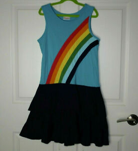 Girl's Hanna Andersson Rainbow Tank Dress Turquoise & Navy Blue Size 150/12