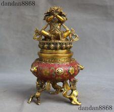 Old Tibetan Buddhism Bronze Cloisonne Gilt Mahakala Buddha Incense burner Censer
