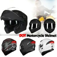 ILM Motorcycle Dual Visors Flip up Modular Full Face Helmet DOT with LED Light