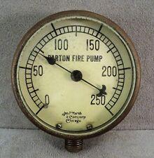 "Antique Jas P Marsh Barton Fire Pump Pressure Gauge Fire Engine TRUCK 3"" Brass"