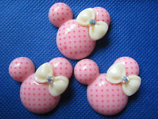 20 Resin Polka Dots Mouse Bow Flatback-Pink B088-1