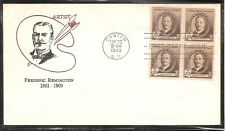 US SC # 888 Frederic Remington .BLK4.  FDC.  Cacheted