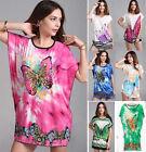 Women Tunic T-shirt Blouse Top Mini Dress Tee Plus Size 8-18 12 14 16 Butterfly