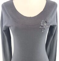 Attention Sz S Gray Womens Pullover Sweater Light Weight Ribbed Round Neck Top