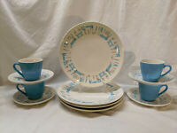 Updated Royal China Blue Heaven 4 Dinner Plates 4 Cups 4 Saucers + Cake Platter