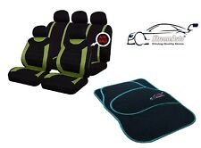 9 PCE Sports Carnaby Green/ Black CAR Seat Covers + Matching Mat Set All Renault