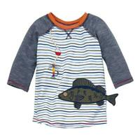 Mud Pie Kids Fish and Lure Applique and Embroidered Boys Striped T-Shirt