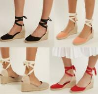 fashion Women Wedge High Heel Platform Lace up Sandal Shoes Plus Size Suede