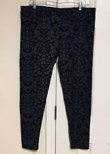 Fleece Stretch Leggings Full Length Black Gray Artsy Scroll Paisley Women's XXL