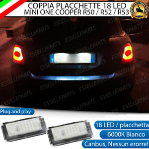 PLACCHETTE A LED LUCI TARGA 18 LED SPECIFICHE MINI ONE COOPER R50 R52 R53 6000K