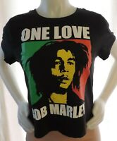 Bob Marley One Love Junior's Size Small T-shirt, Black, Cropped, Zion Rootswear