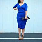 Women Solid Plus Size Deep V Neck 3/4 Sleeve Wrap Ruched Waisted Bodycon Dress
