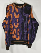 City Streets Sz XL 1990s Vtg Ugly Sweater Black Orange Purple Cosby Abstract 90s
