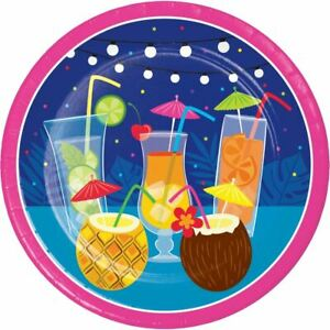 """Summer Drinks 8 Ct Paper Dessert 7"""" Plates Pool Party"""