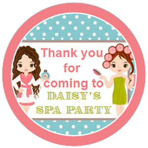 24 Personalised PAMPER SPA Party Bag Stickers 40mm