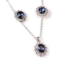 Moda azul cristal boda copo de nieve collar pendientes joyas conjuntos regaQA