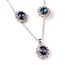 Fashion Blue Crystal Wedding Snowflake Necklace Earrings Jewelry Sets Gift  Sl