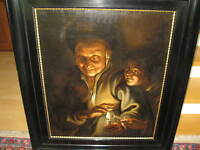 RUBENS/SCHALCKEN  um 1700 Night Scene with an old Man holding a Candle