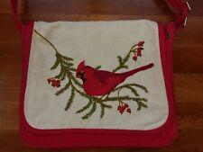Vtg Handmade Embroidered Red Cardinal Bird Messenger Bag Crossbody Purse Handbag