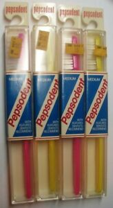 4 NIB VINTAGE 1970s PEPSODENT PINK & YELLOW TOOTHBRUSHES MADE IN U.S.A.