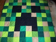 New Handmade Mindcraft Pixel Creeper Blanket Quilt Twin Coverlet  XL Lap size