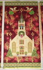 Silent Night Cathedral Church Religious Christmas Fabric 23