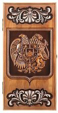 WOODEN HANDMADE BACKGAMMON BOARD GAME SET CARVED COAT OF ARMS OF ARMENIA ASHTREE