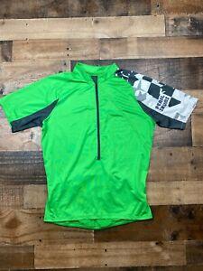 Pearl Izumi Mens Lime Green Short Sleeve 1/2 Zip Cycling Jersey Shirt Size Small