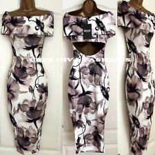 Printed Bardot Bodycon Evening Cut Out Occasion Midi Wiggle Dress Sizes UK: 8-14