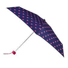 totes Mini Round Pink Hearts Print Umbrella (5 Section)