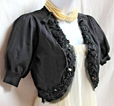 iroo Designer Black Fine Rayon Bolero Shrug Sz 38 S Sequin Whispy Ruffled Trim