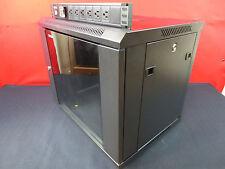 9U Wall Mount Server / Network Rack Cabinet With Locks & Hinged Glass Door PDU