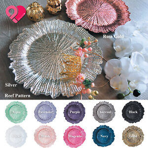 1-24pcs Reef Pattern Acrylic Plastic Charger Plate Shiny Finish Rose Gold Silver