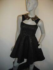 Mini Vestido nuevo + Etiquetas * ASOS PETITE * Cortar Jacquard Negro Skater S 8 RRP £ 89