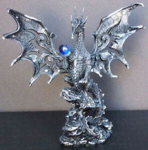 """HERALD   Black Winged Dragon with Blue Marble     Figure Statue H8"""""""
