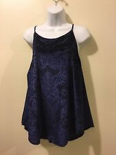 NWT Cable & Gauge Tank Top Spaghetti Straps Velvet Blue Floral Lining - Sz Large