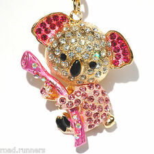 Koala Bear Handbag Charm Keyring Diamante Rhinestone Charm Bling K50049