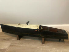 """Antique HUGE 24"""" Clockwork Wind Up Wooden Toy Speed Boat Early Unmarked"""