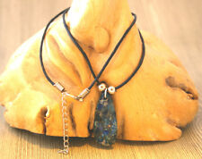 Dark blue sea sediment jasper agate gemstone pendant on black cord necklace