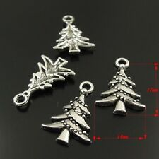 **Vintage Silver Alloy Christmas Trees Charms Pendant Findings Craft 10pcs 38293