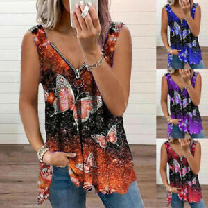 Womens Vest Zipper Blouse Sweatshirt Basic Shirt Butterfly Loose Cami Tee Tops