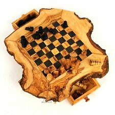 BeldiNest Olive Wood Large Chess Game Rustic Handmade- Wooden Chess Set