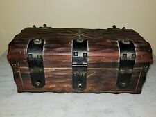 VTG Mid Century Wood Pirate Chest Storage Box Trunk Jewelry Trinkets Apco Japan