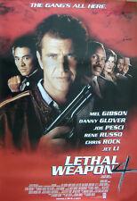 Lethal Weapon 4 (1998) Original S/S One Sheet Movie Poster, Mel Gibson, Jet Li