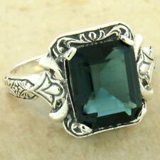 925 STERLING SILVER 3 CT LONDON BLUE SIM TOPAZ ANTIQUE STYLE RING SIZE 9,  #1122