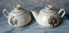 "VINTAGE SALEM CHINA CO USA "" SAMPLER "" FLORAL TEA POT, COVERED SUGAR BOWL"