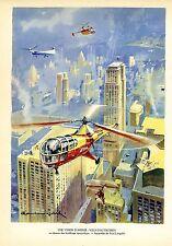 Une Vision. Vols d´Autogyres New York. Aquarelle de Paul Lengllé/Grafik um 1940