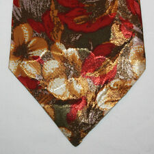 """NEW 53"""" Silk Neck Tie Brown with Red and Beige Flowers 469"""